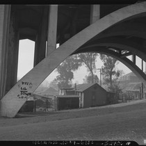 "View under bridge towards Chavez Ravine's ""Lil' Town"""