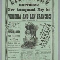 Lighting express!... through trains daily between Virginia [City, Nevada] and San Francisco ...