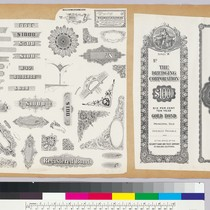 Album page with bank note vignettes with numbers, corners and geometric patterns, ...