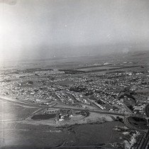 Aerial view of Hoag Memorial Hospital and surrounding area, Newport Beach, California: ...