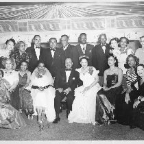 Group photograph at Slim Jenkins Bar and Restaurant (left to right): Hazel ...