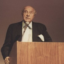 Actor/producer John Houseman speaks at California State University Northridge (CSUN), 1983