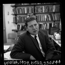 1/2 length portrait of San Fernando Valley State College sociologist Dr. Lewis ...