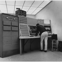 Student works on analog computer, ca. 1965