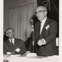 Augustus F. Hawkins gives a campaign speech for the 1966 primaries