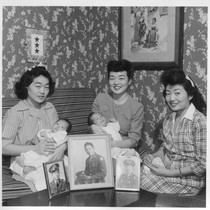 Shown left to right are Mrs. Paul Kitsuse, Mrs. Karl Nakazawa, and ...
