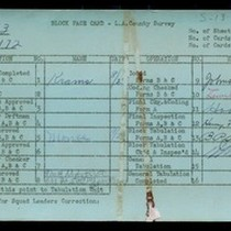 WPA block face card for household census of Central Street, in Los ...
