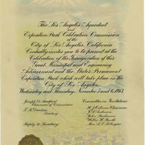 Invitation to the opening of Los Angeles Aqueduct and Exposition Park