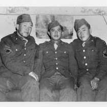 Abraham Ohama, Kaz Masuda, and Zentaro (George) Akiyama sitting on couch at ...