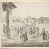 [The reception of Jean-Francois de la Perouse at Mission Carmel in 1786, ...