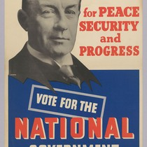 The man for peace security and progress: Vote for the National Government