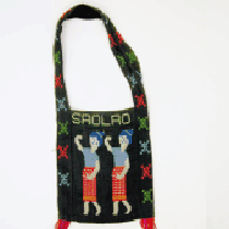Handmade shoulder bag with images of Lao women and the USA eagle ...