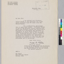 Letter of support from Horace M. Kallen to the American Consul concerning ...