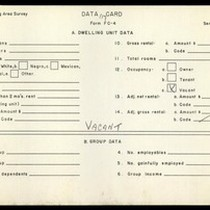 WPA Low income housing area survey data card 117, serial 8296, vacant