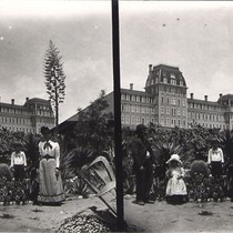 Family in Front of First Raymond Hotel - Stereoview
