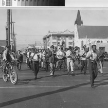 McClymonds High School band in procession, West Oakland, c.1945 [picture]