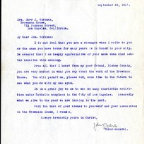 [Bishop John Cantwell letter to Mary J. Workman, 1917 September 22]