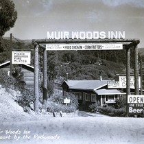 The entrance to the Muir Woods Inn, 1946 [postcard negative]