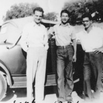 1936:Henry, Dave, and Howard Brubeck in front of Henry's Chevrolet. Ione, California