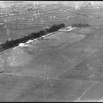 Aerial view of Clover Field Airport in Santa Monica, showing residences in ...
