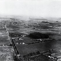 Aerial photo of Santa Fe Springs, with Clarke Estate towards center of ...