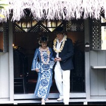 Vince and Patricia Whiting exiting the CoCo Palms Chapel
