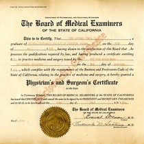 Certificate, Board of Medical Examiners of the State of California