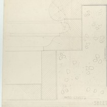 Architectural drawing of wall around basin of fountain, Pasadena City Hall, left ...