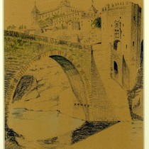 [Arched bridge with towers], colored pencil on paperboard, undated