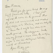"""Dear Frances, Thank you for your…"""