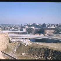 Construction of the Hollywood Freeway, near Los Angeles River