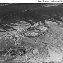 Aerial view of a racetrack near Mission Bay