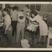 Manzanar, Calif.--Newcomers vaccinated by fellow and sister evacuees of Japanese ancestry on ...