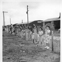 Closing of the Jerome Center, Denson, Arkansas. Evacuees still remaining in the ...