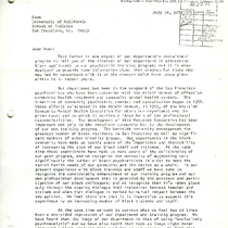 Edward M. Weinshel letter to University of California School of Medicine Dean