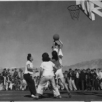 Basketball game [Manzanar], February 13, 1943