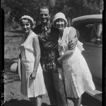 Actor Reginald Denny and two women, Lake Arrowhead Rodeo, Lake Arrowhead, 1929