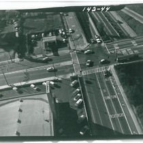 Aerial View Looking West at Arroyo Pky. Freeway, Overpass, Fair Oaks, Grevelia