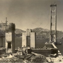 The Golden Gate Bridge under construction, looking towards Marin County, August, 1935 ...