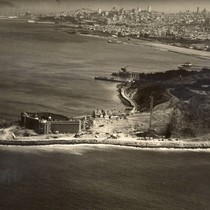 Looking toward San Francisco, with Fort Point in the foreground, as construction ...
