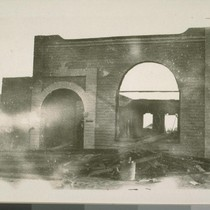 Adobe walls of the bank after the fire. Winter of 1903. When ...