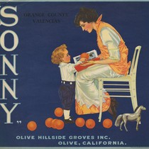 "Crate label for ""Sonny"" Orange County Valencias, Olive Hillside Groves Inc., Olive, ..."