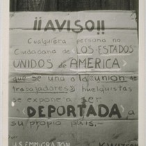 Snapshot of United States Emmigration sign warning against strikers