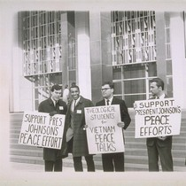 Bay Area theological students and signs displayed on steps of Federal Building, ...
