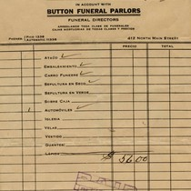 Account statement from Button Funeral Parlors