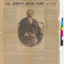 """Colonel John P. Irish, Tory"" (front page of The Bulletin)"