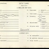 WPA Low income housing area survey data card 118, serial 13013, vacant