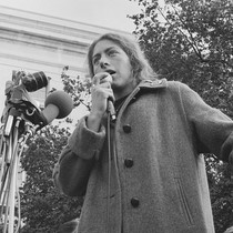 Bettina Aptheker speaking in front of Sproul Hall