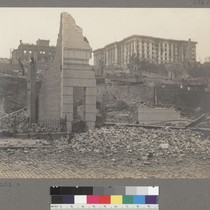 [Nob Hill ruins. Flood residence, left, and Fairmont Hotel, right, atop hill.]