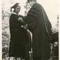 Bernice Pitts receiving her degree at George Pepperdine College